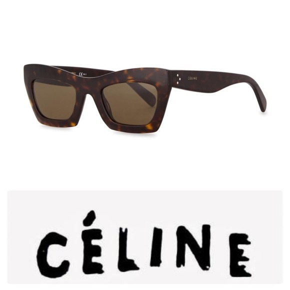 b42a8f06d9df NEW CELINE EVA CAT EYE SUNGLASSES DARK TORTOISE